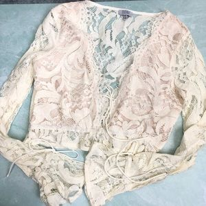 Tobi Sophia ivory lace crop top size small